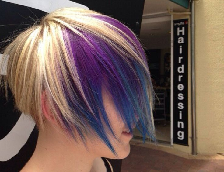 Colour Fun @ Smyths inc. #hiardressing #purplehair #bluehair #blonde #goldwell #elumen