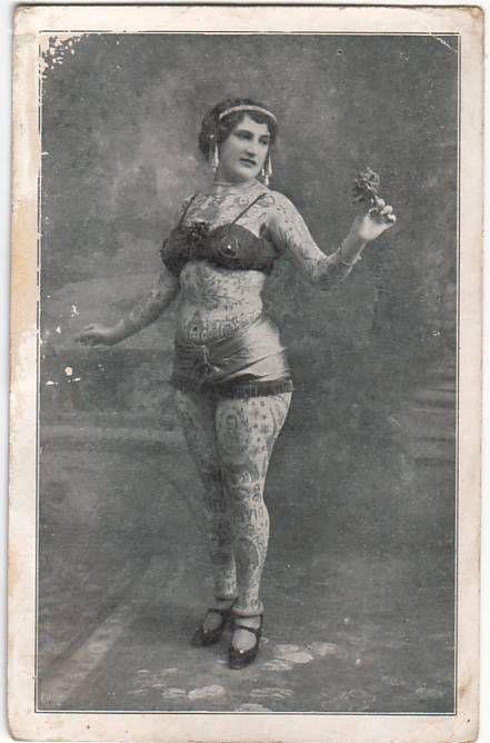 Tattooed lady, vintage. Old school.