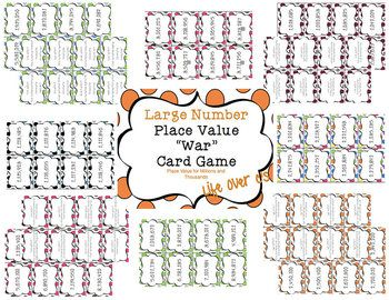 """Large Number Place Value """"War"""" Math Card Game/Center Comparing Thousands and Millions Number and Word Form $"""