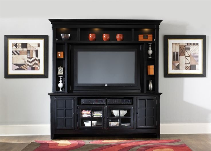 New Generation 50-Inch TV Entertainment Center in Rubbed Black Finish by Liberty Furniture – 540-ENT
