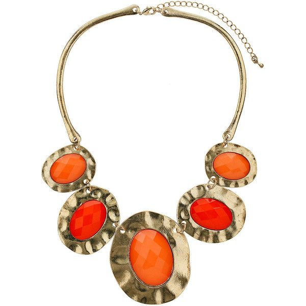 Orange irregular oval collar ($27) ❤ liked on Polyvore featuring jewelry, necklaces, accessories, women, orange jewelry, oval necklace, orange necklace, collar jewelry and collar necklace