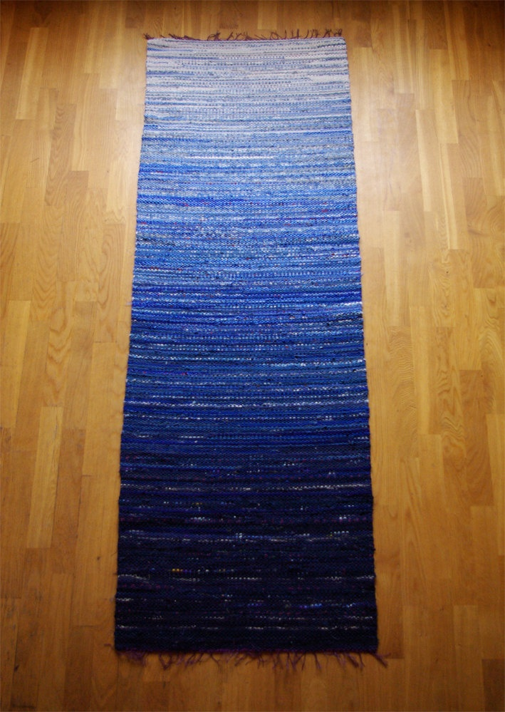 Hand woven Rag Rug - Blue and White Transitional 2.33'x 6.82'. 72.00, via Etsy.