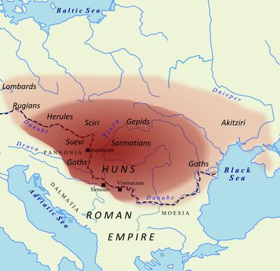Extent of Attila's empire Google Image Result for http://upload.wikimedia.org/wikipedia/commons/thumb/f/f0/Huns450.png/400px-Huns450.png