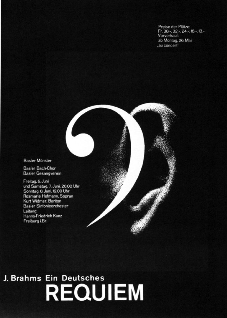 Poster: J Brahms Ein Deutsches Requiem. The designer's choice to mirror the forms of the bass clef and ear was really successful. #music