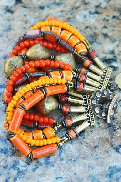 Tango Tangerine Cuff: Tangerine Orange Glass and African Brass Multi-Strand Cuff Bracelet $200