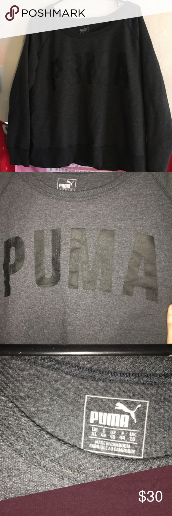 Puma sweatshirt Brand new without tag. I tried it on and was every excited until my boobs decided an XL wasn't going to work for this type of sweat shirt Puma Tops Sweatshirts & Hoodies
