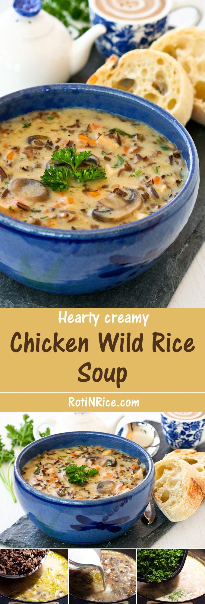This Chicken Wild Rice Soup is a hearty creamy soup made with cooked chicken, nutty wild rice, and mushrooms. It is a bowl of comfort any time of the year. | RotiNRice.com