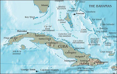 Image result for map of cuba and florida