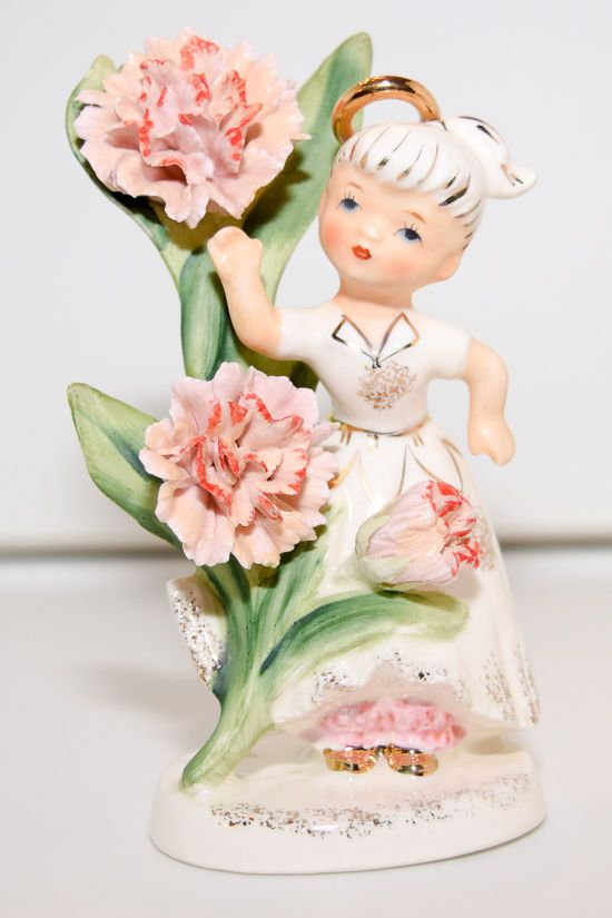 Vintage Lefton China Girl Angel - May, Flower Girl of the Month (985)