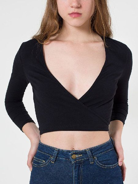 Active Low V-neck Cut Out Long Sleeves Gym Tops in Black