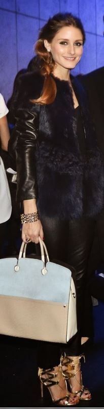 olivia palermo  Who made  Olivia Palermos black leather jacket, gold sandals, and two tone tan handbag that she wore in Tokyo?