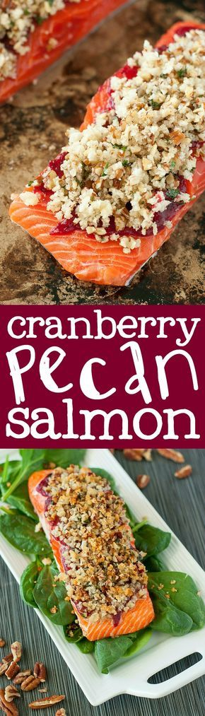 Cranberry Pecan Crusted Salmon :: snag some yummy leftover cranberry sauce to whip up this sweet and savory salmon!