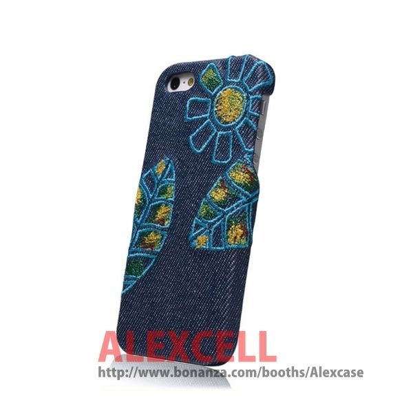 Denim Jeans Embroidery Iphone 5/5s Case Sunflower (get 1 plastic case free)