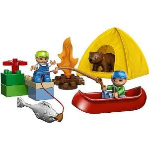 LEGO DUPLO® LEGOVille Fishing Trip 5654 by LEGO. $55.23. 14 elements. Canoe included. Includes Dad and son DUPLO® figures, bear and more. Set include new fabric tent. Go fishin? with fishing pole, fish, bear and camp fire. From the Manufacturer                Dad and son are on a fun fishing trip and camping at the lake side. The friendly little bear hopes that it can taste some of the fish that dad is doing his best to catch! Includes two DUPLO figures, one ...