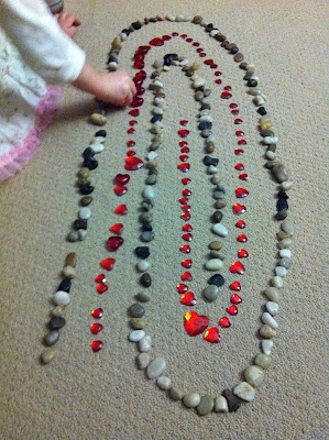"Lovely work with pebbles & valentine heart gems ("",)"