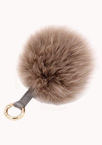 Plush Ball Fox Fur Bag Charm Key Ring Grey