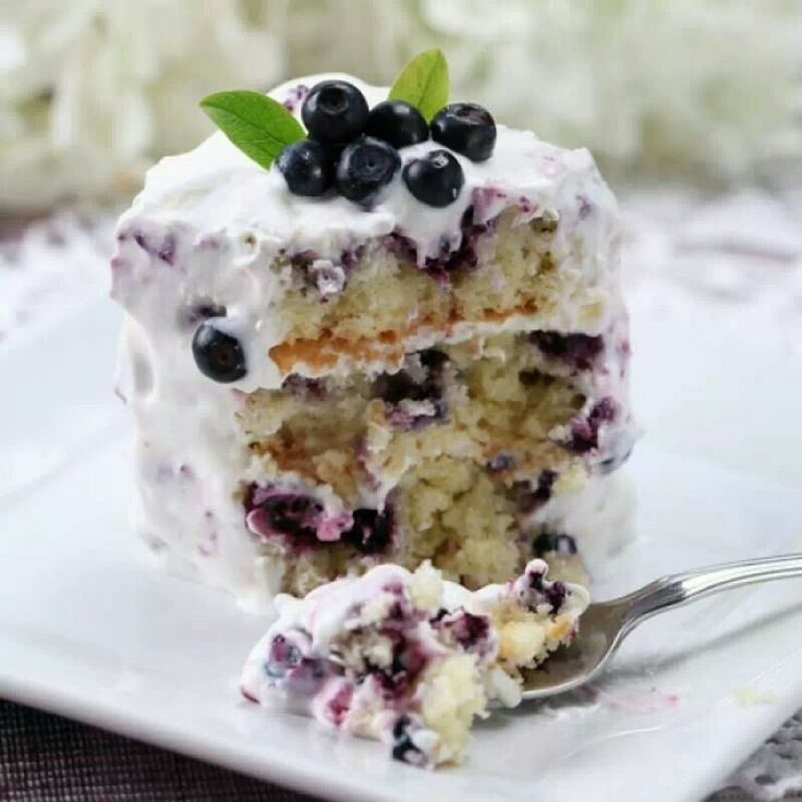 Blue Berry Cake with Whipped Cream