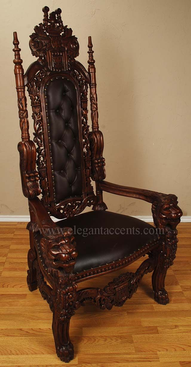 King lion throne chair brown lacquer with