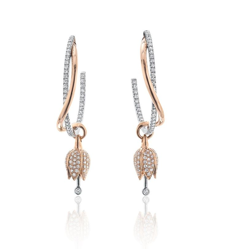 Maymay Tulip Diamond Hoop Earrings. New design with 1.16ct of round-brilliant cut diamonds