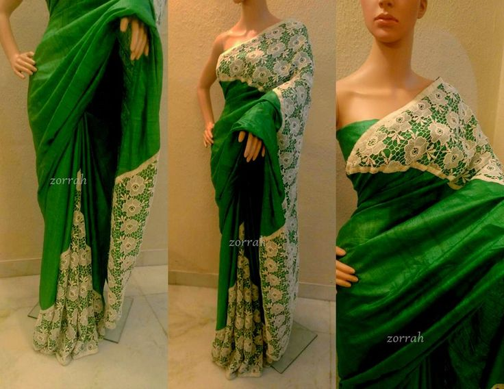 Green Tussar silk cutwork lace designer saree