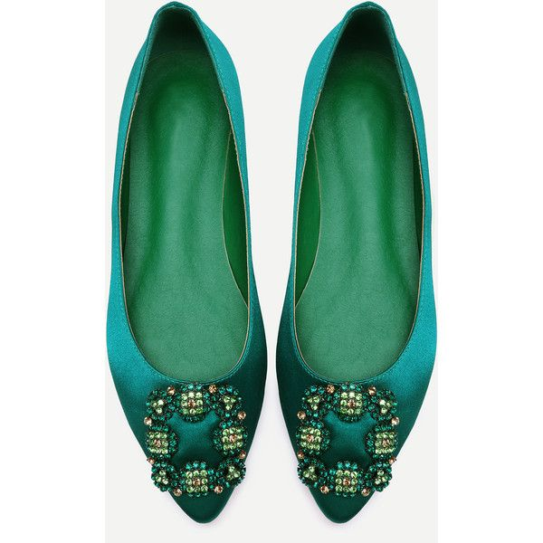 Green Glitter Satin Rhinestone Pointed Ballet Flats (850 UAH) ❤ liked on Polyvore featuring shoes, flats, ballet shoes, pointy-toe flats, ballet flats, pointed-toe flats and glitter ballet flats