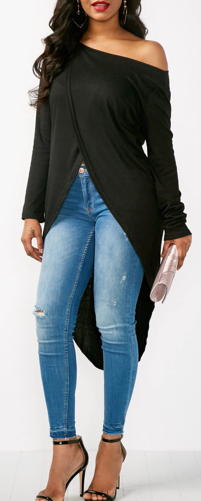 Skew Neck Long Sleeve Asymmetric Hem Blouse.