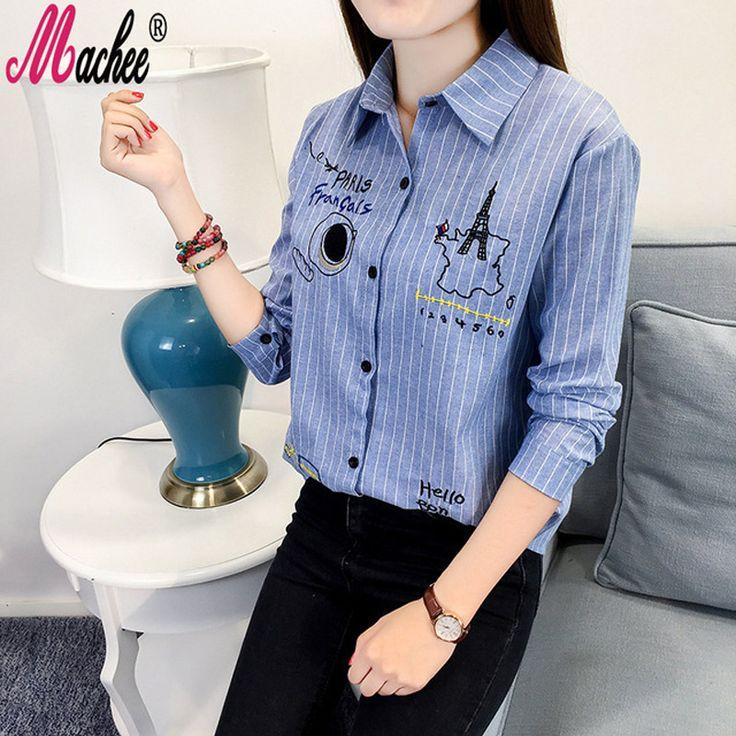 Fall 2016 Korean Work Clothes Autumn Blouse Cotton Long Sleeve Stripe Graffiti Embroidery Women Shirts Casual Oversize Blusas