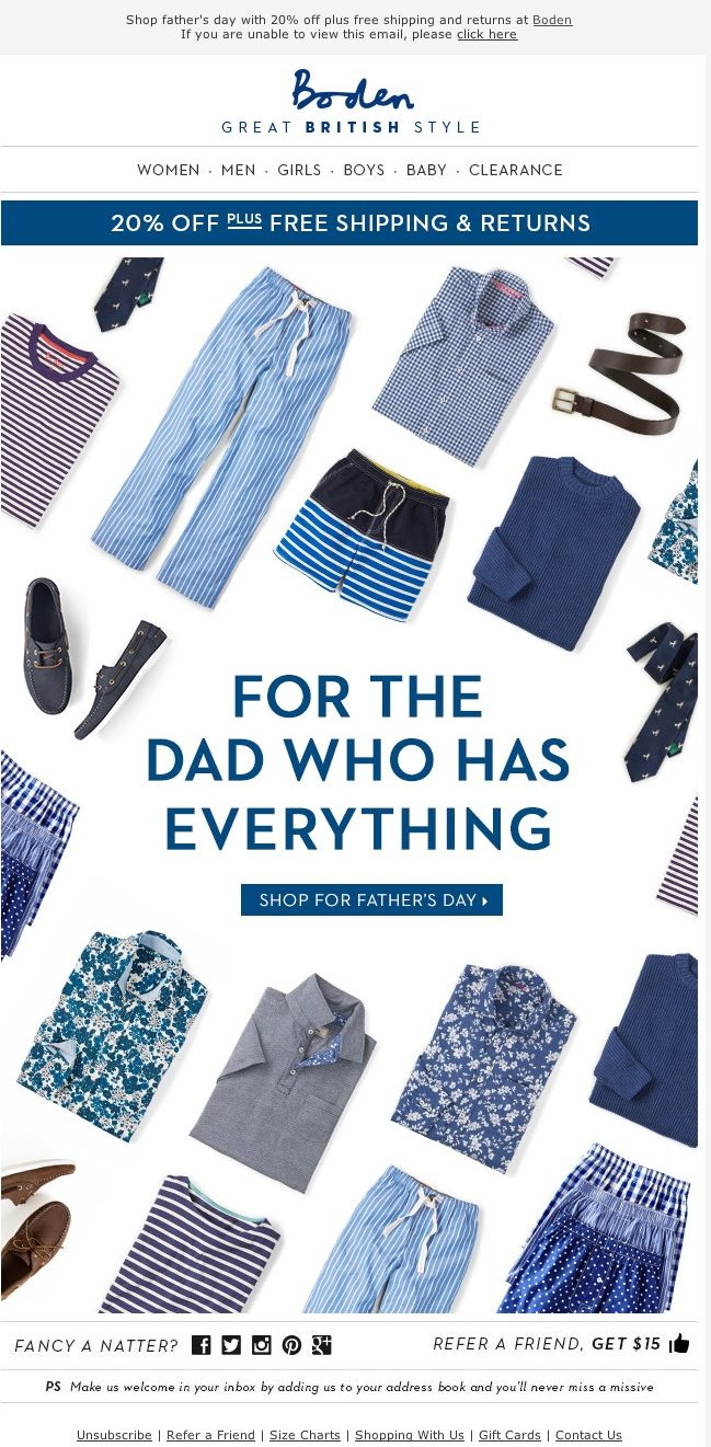 131 best father 39 s day images on pinterest email design for Boden newsletter
