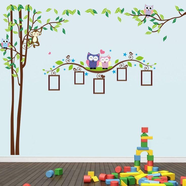 Songmics Autocollant Stickers Muraux Arbre Hibou Singe Cadre de photo Couleur 220 x 176cm FWT18C: Amazon.fr: Cuisine & Maison