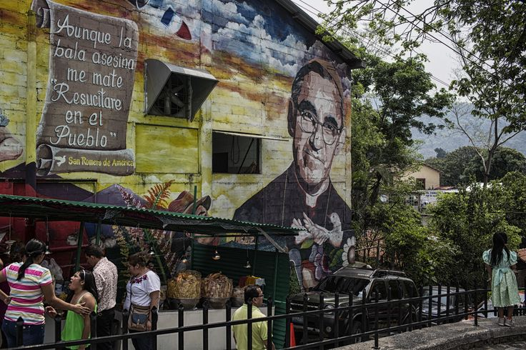 Yo no dí a Luz – Nadia Shira Cohen Panchimalco, El Salvador-May 2016: A wall painting idolizes Archbishop Óscar Romero who was assassinated while giving mass during El Salvador's Civil War.