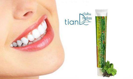 Φωτογραφία του χρήστη Tiande Club Hellas. ΟΔΟΝΤΟΚΡΕΜΑ ''ΠΡΑΣΙΝΟ ΤΣΑΙ ΚΑΙ GINSENG'' TianDe Για υγιή ούλα,γερά δόντια και ευχάριστη αναπνοή όλη ημέρα!  Η οδοντόκρεμα ''Πρασινο τσάι και Ginseng'' παρέχει ολοκληρωμένη στοματική φροντίδα και έχει τις εξής ιδιότητες. >Καθαρίζει καλά την πλάκα ! >Προλαμβάνει την τερηδόνα ! >Φροντίζει την υγεία των ούλων ! >Εξασφαλίζει δροσερή αναπνοή όλη την ημέρα !