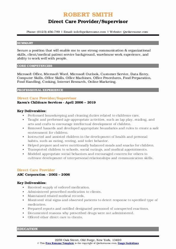 Direct Care Worker Resume New Direct Care Provider Resume Samples In 2020 Customer Service Resume Job Resume Samples Manager Resume