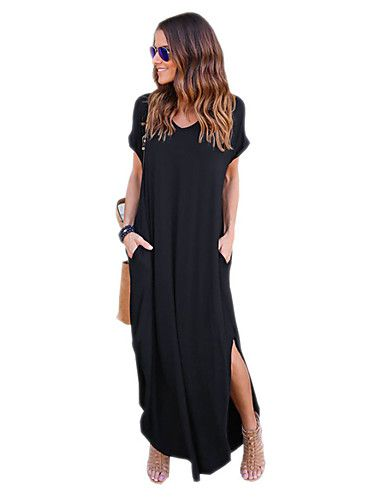 7f069cec4cb9 Women s Daily   Weekend Street chic Maxi Loose   Tunic Dress - Solid ...