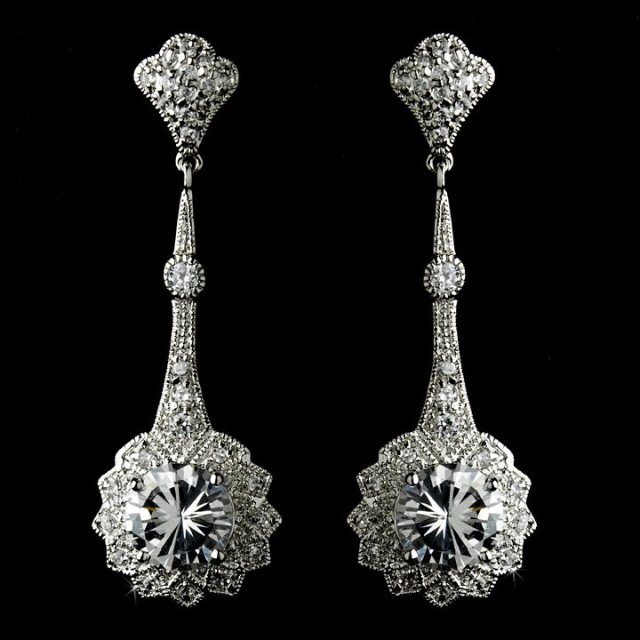 Art Deco Inspired Cubic Zirconia Bridal Earrings for your vintage, Downton Abbey or Great Gatsby theme wedding!