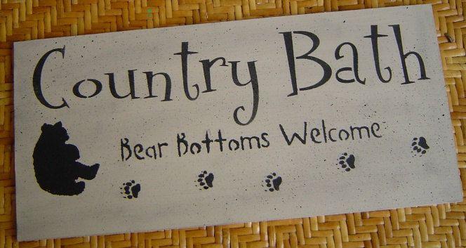 Bear bathroom  decor   Black Bear / Country Bath / Bear Bottoms Welcome / wood Sign western ...