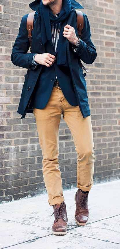 Men's brown chinos, blue jacket and coat, and striped shirt