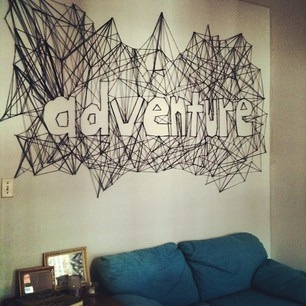 string art typography negative space
