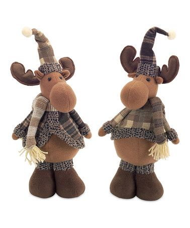 Another great find on #zulily! Plaid Standing Moose Plush Décor - Set of Two #zulilyfinds