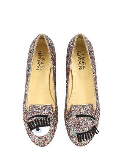 Chiara Ferragni 10mm Blink Eyes Glitter Loafers on shopstyle.com