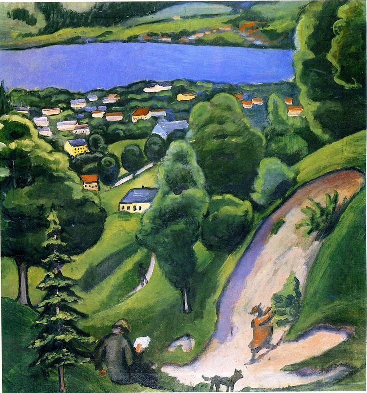 August Macke (1887-1914) - Landschaft am Tegernsee mit Lesendem Mann, 1910