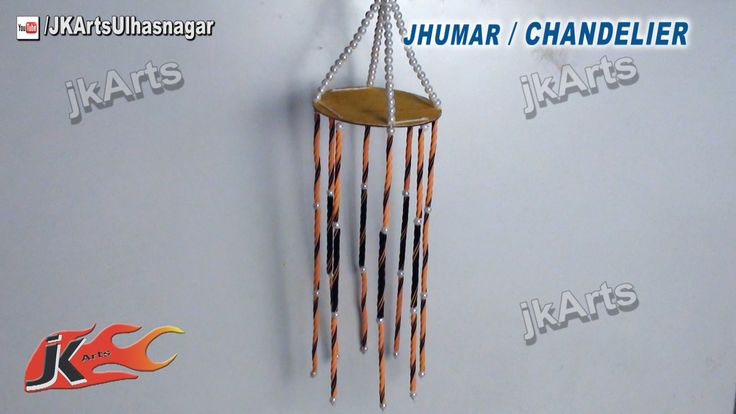 How to make jhumar chandelier out of waste dvd easy for Crafts made out of waste