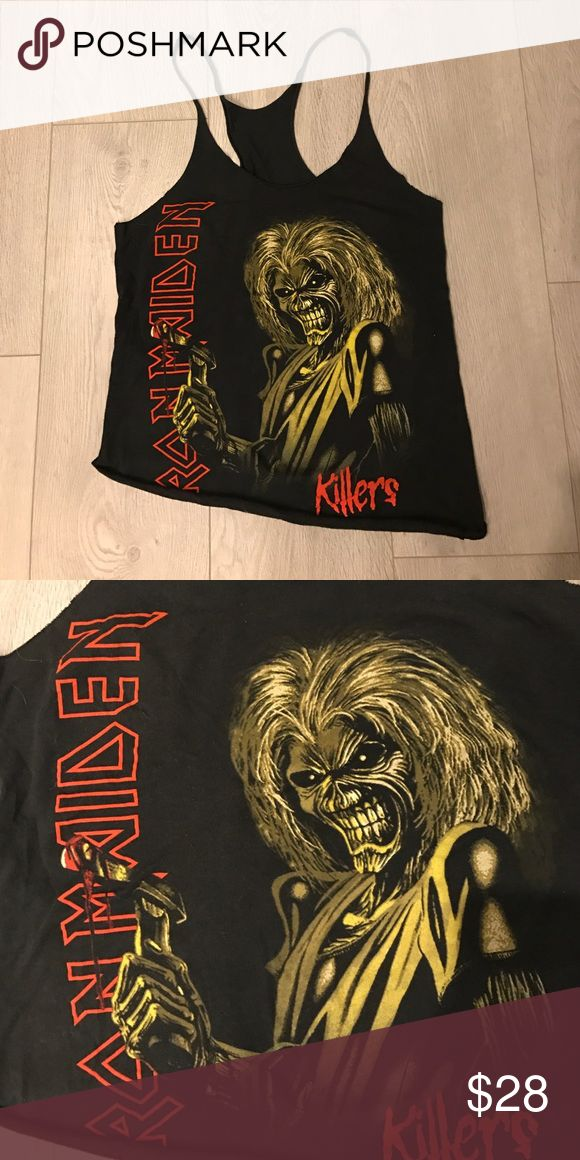 Vintage Iron Maiden Tank Top Rocker T Shirt Band T A vintage size small (women's) Iron Maiden band tank. Vintage washed Black racerback with rolled hem. Sexy and edgy. One of a kind. Semi fitted. Should fit a S or M. Cotton with a tiny bit of stretch. Vintage Tops Tank Tops