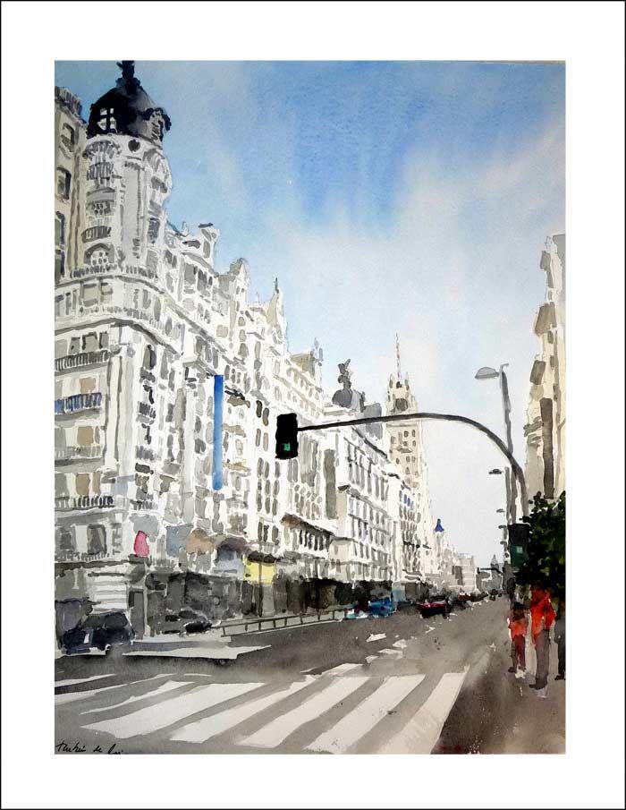 Una acuarela de la Gran Vía de Madrid recién terminada. contacto: ruben@rubendeluis.com