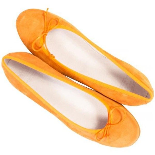 Larissa Pawpaw Orange Suede Rubber Sole Bow Ballerina Flats | Paolo... ❤ liked on Polyvore featuring shoes, flats, ballet flats, ballerina flats, ballet flat shoes, orange shoes and ballerina shoes