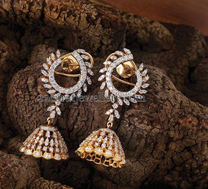 Jewellery Designs: Half Moon Designed Diamond Jhumkas