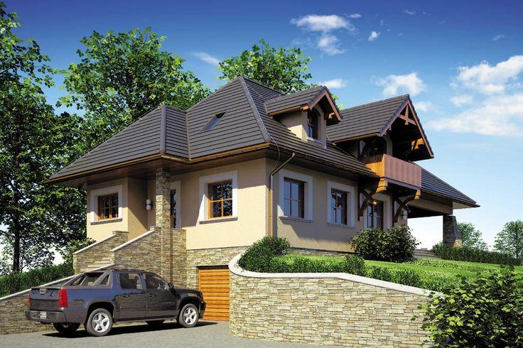 Dom jednorodzinny, parterowy z poddaszem użytkowym, podpiwniczony