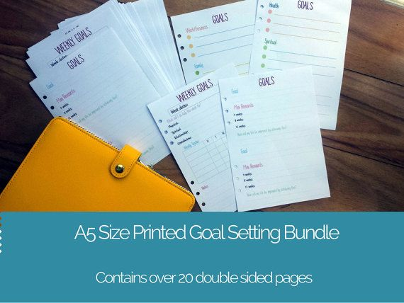 Printed A5 Goal Setting Planner Bundle | A5 printed planner inserts | Goal planner | Goal planner inserts for large Kikki K or Filofax etc