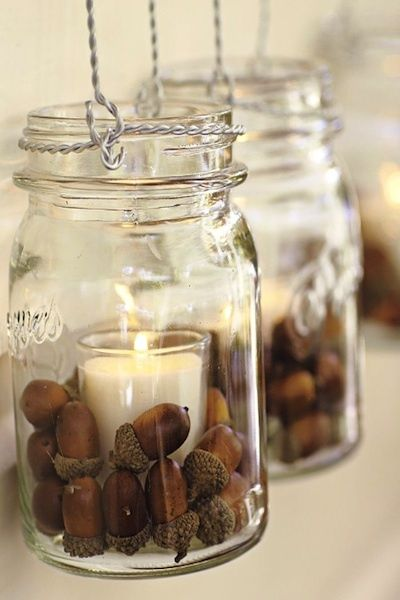Use coffee beans for a nice morning candle smell. Fall Acorn Wedding mason jar candle tea light event party autumn rustic brown