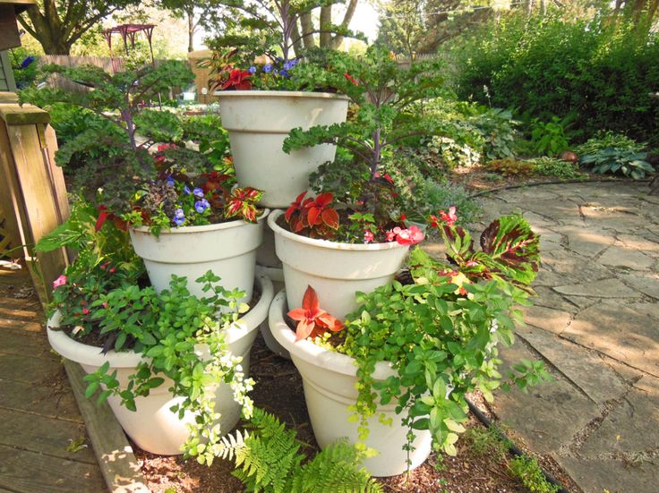 Patio Vegetable Garden Ideas deck container gardening ideas Diy Container Garden Tower Pyramid Vegetables 3 Large Containers 4 Medium Sized Potting Soil