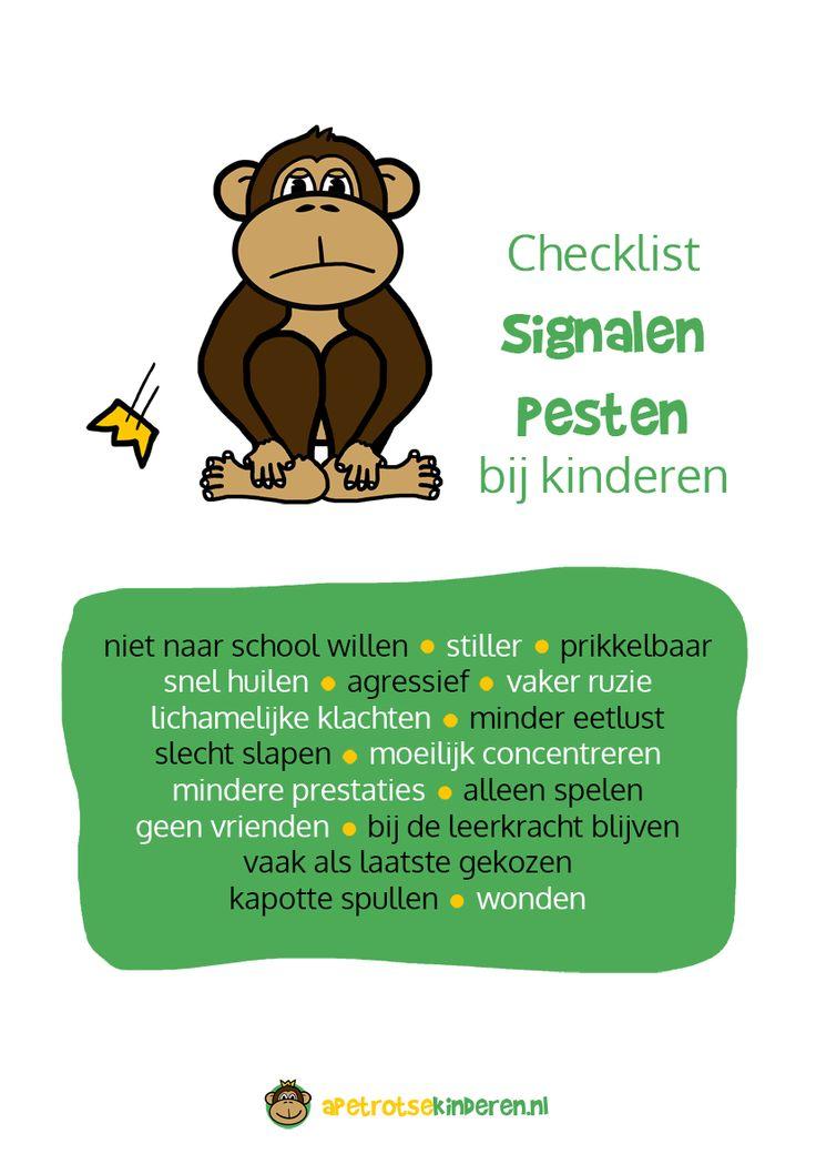 Poster: Checklist signalen pesten